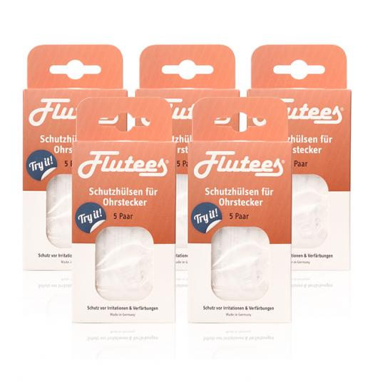 Embouts de protection pour boucles d'oreilles Flutees® comme un ensemble de 5 pour protéger contre l'inflammation et les réactions allergiques telles que le nickel lorsque vous portez des boucles d'oreilles