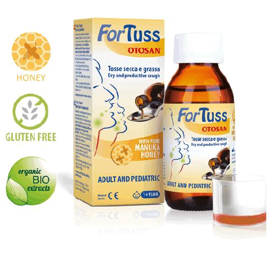 Sirop Otosan® ForTuss contre la toux au miel de manuka pour la toux sèche et congestionnée et la muqueuse buccale irritée