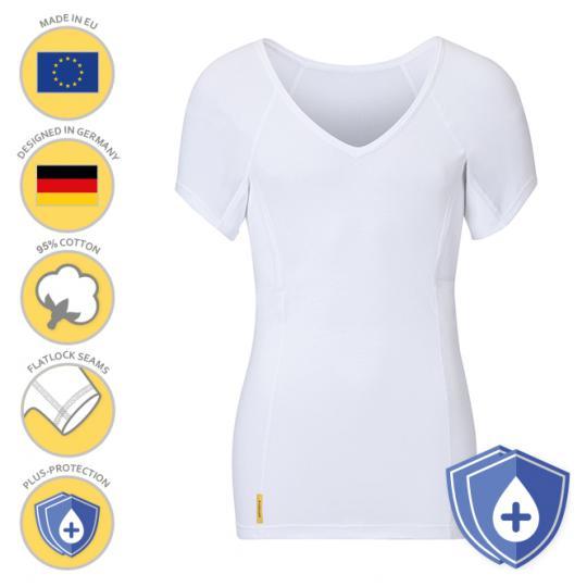 Homme-V-classic-PLUS-shirt manjana® avec protection des aisselles particulièrement absorbante pour les hommes Blanc : XL